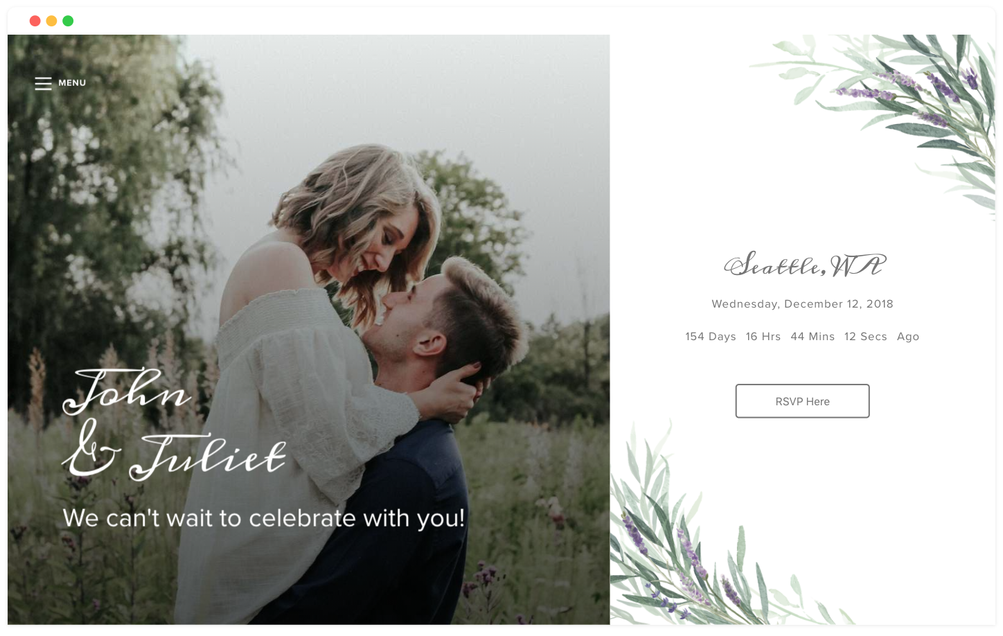 lavender sage free wedding website