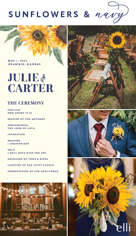 Navy blue and sunflower themed wedding inspiration