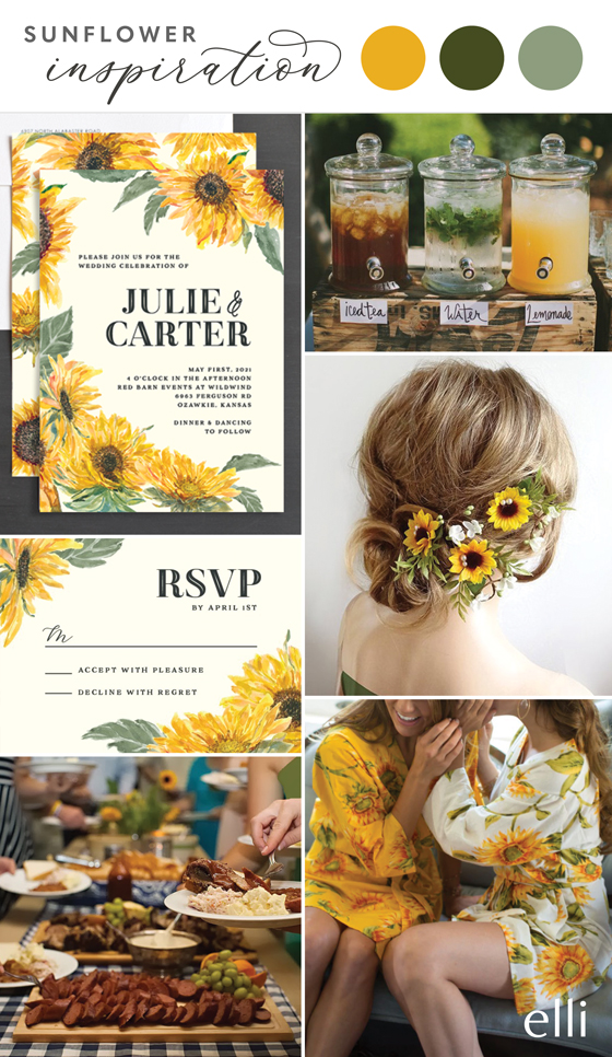 Sunflower wedding invitation and inspiration