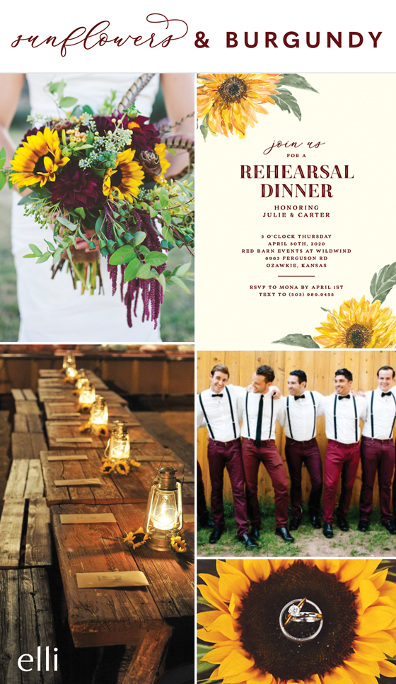 sunflower and burgundy wedding inspiration