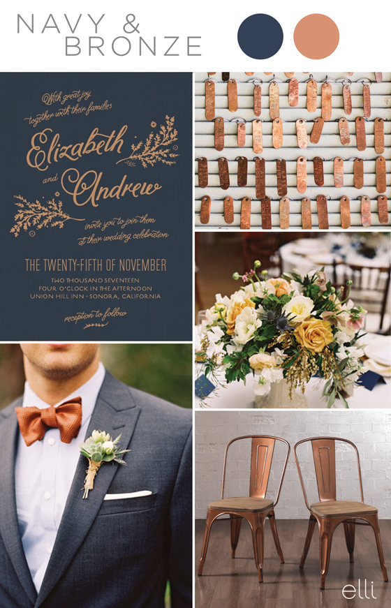 navy and copper wedding inspiration