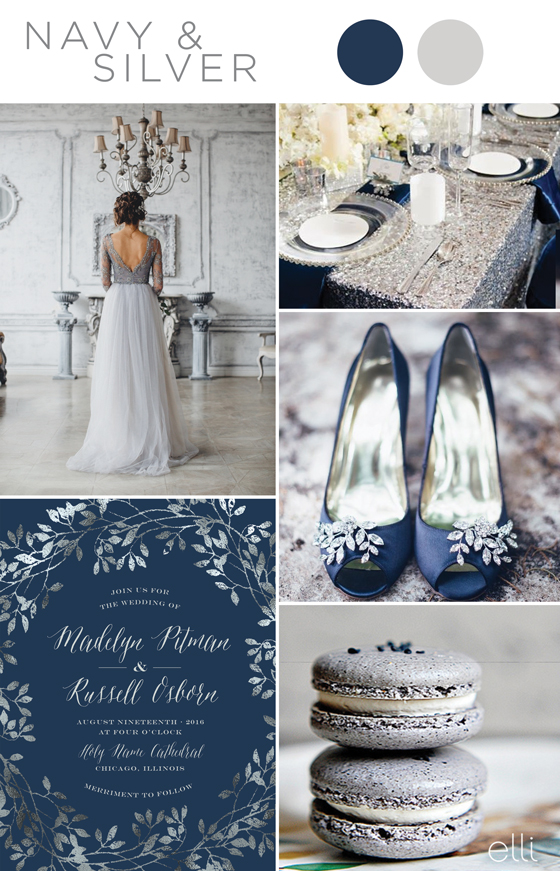 navy and silver wedding inspiration