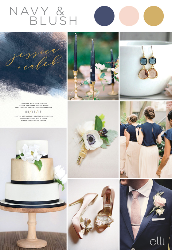 navy and blush wedding inspiration
