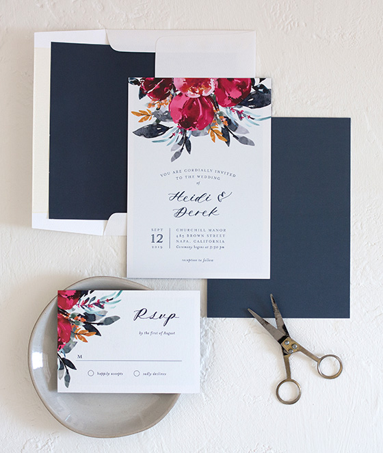 Painted Bouquet Wedding Invitations in Navy