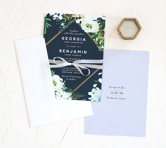 Painted greenery navy wedding invitations