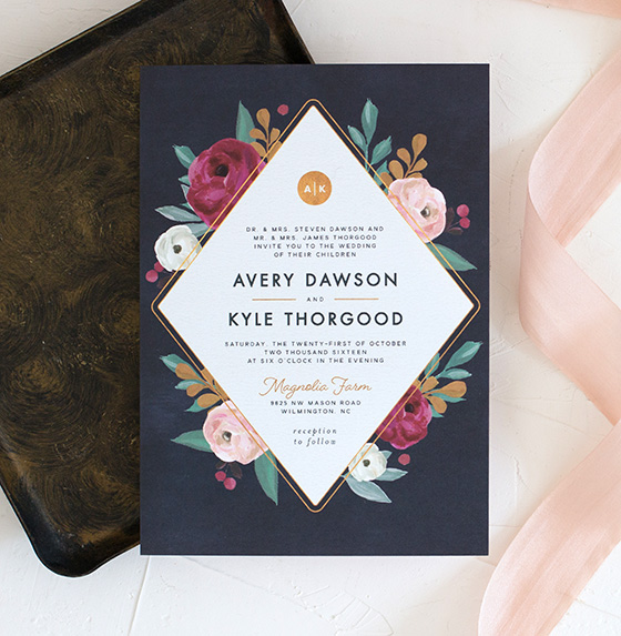 painterly florals navy wedding invitations