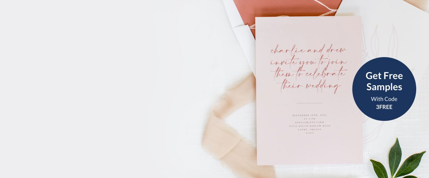 Custom wedding stationery featuring modern script paired with a minimal typeface. Includes a wedding invitation and matching envelope.