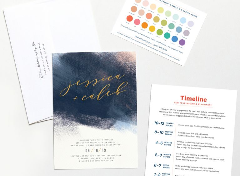 Free stationery sample pack including an invitation, envelope, stationery timeline and wedding color chart.