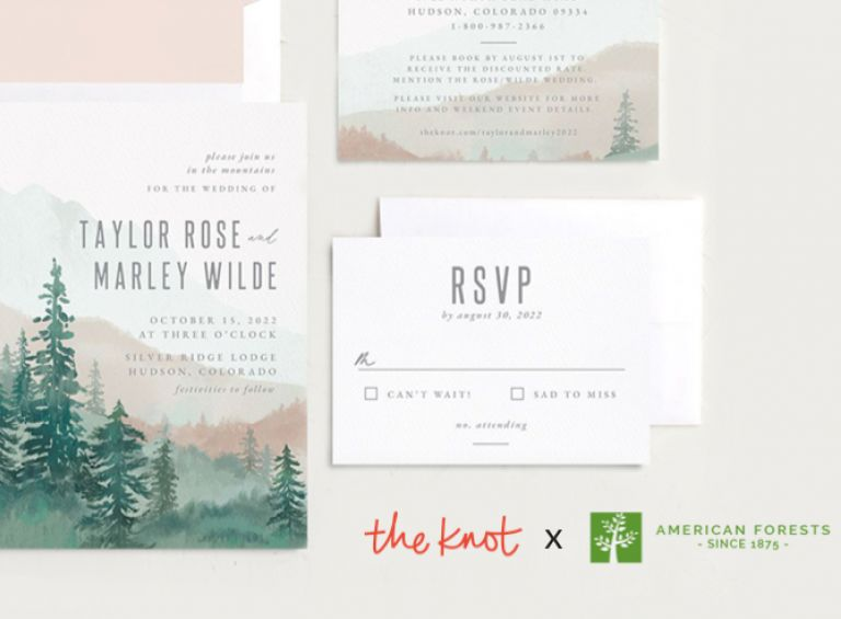 Rustic wedding invitation featuring evergreen trees against a mountainscape.