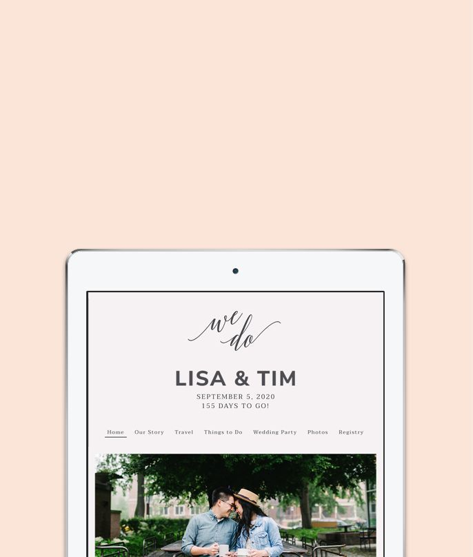 A screenshot of a wedding website on an iPad, showcasing your names and engagement photo. Select to view matching stationery.