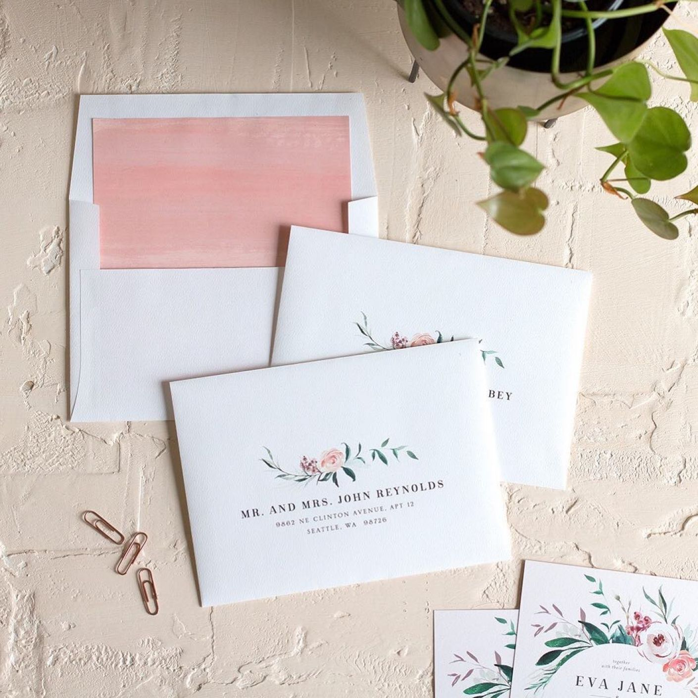 Wild Wreath DIY envelope liners + guest address printing