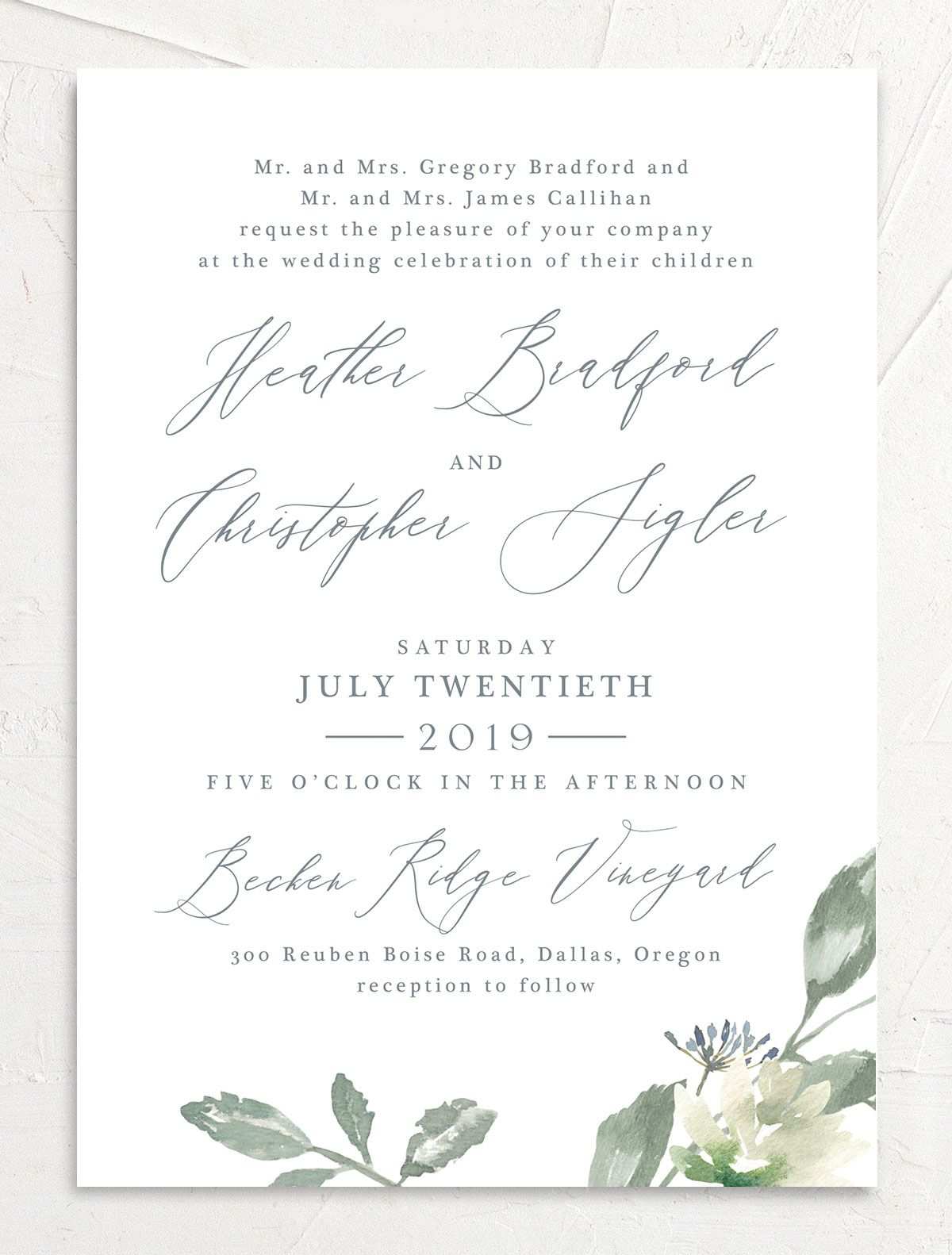 Dusted Calligraphy Wedding Invite blue front