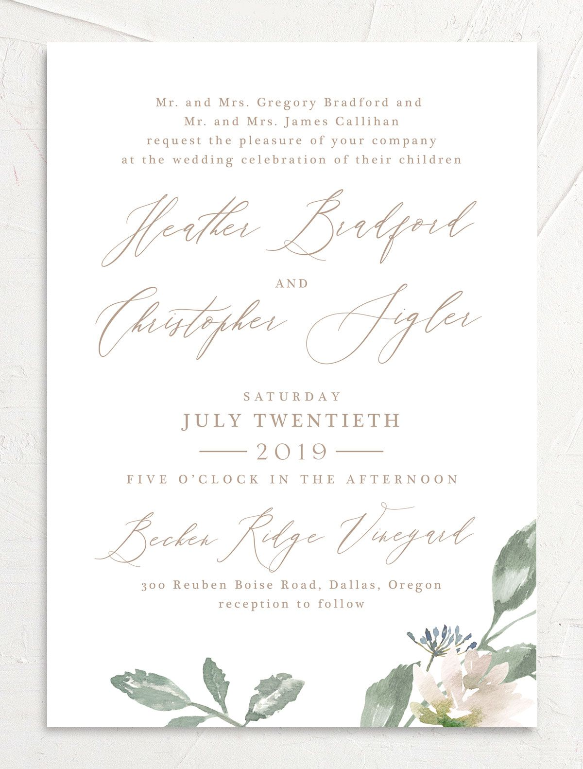 Dusted Calligraphy Wedding Invite pink front