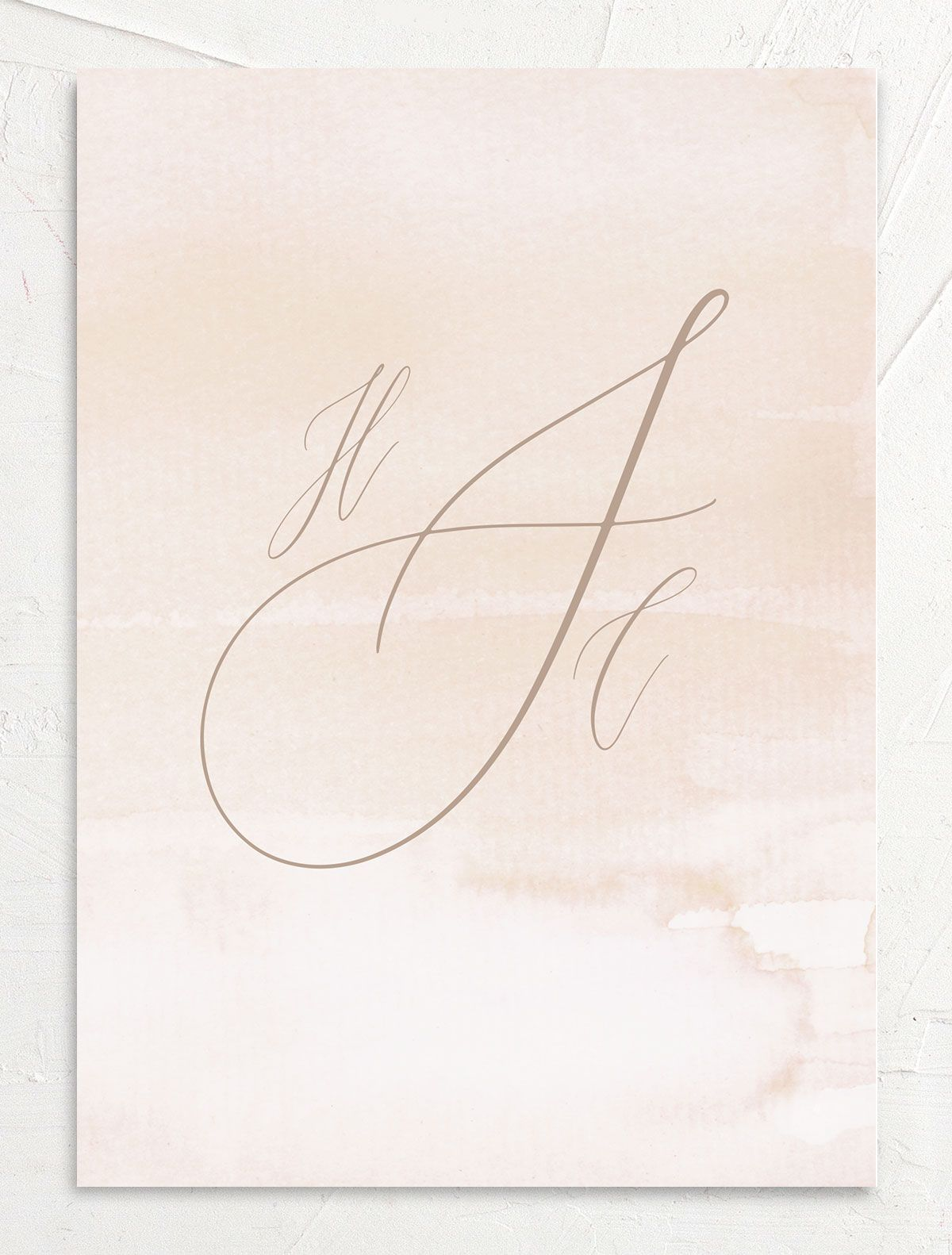 Dusted Calligraphy Wedding Invite pink back