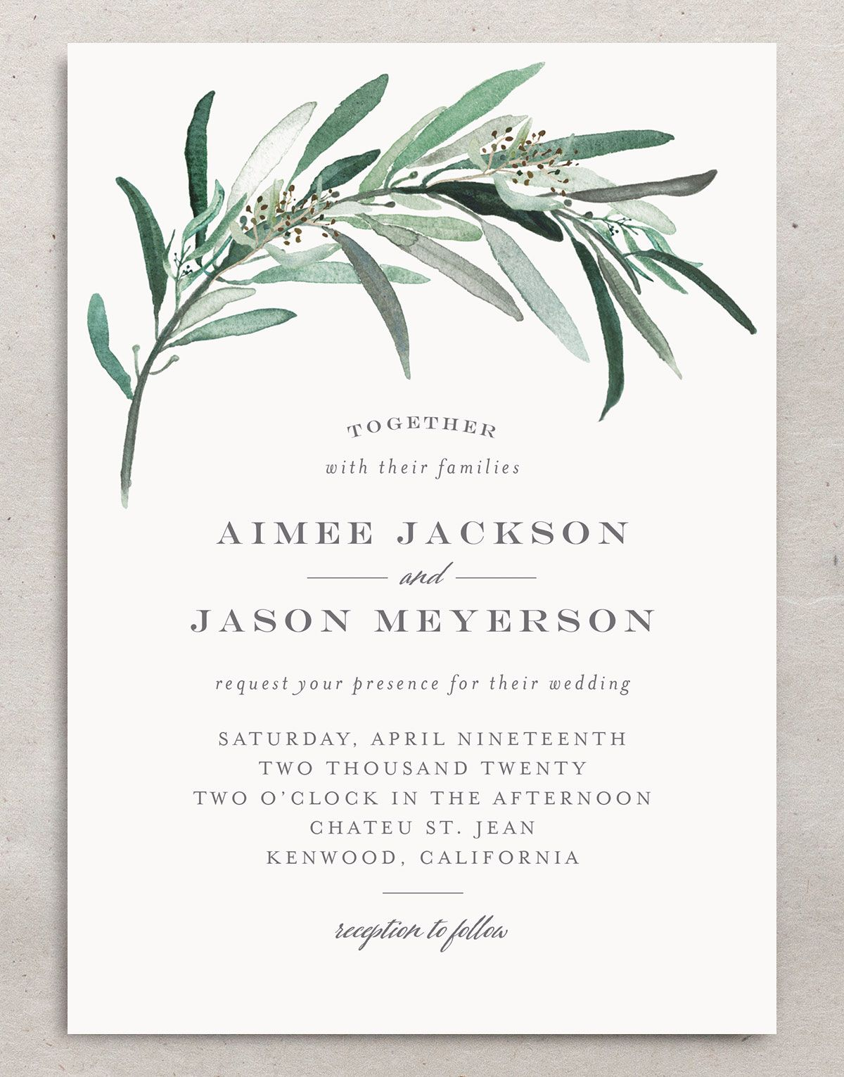 Lush Greenery invitation front
