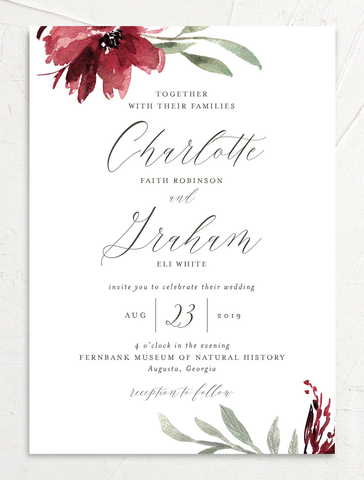 muted floral wedding invitations in burgundy