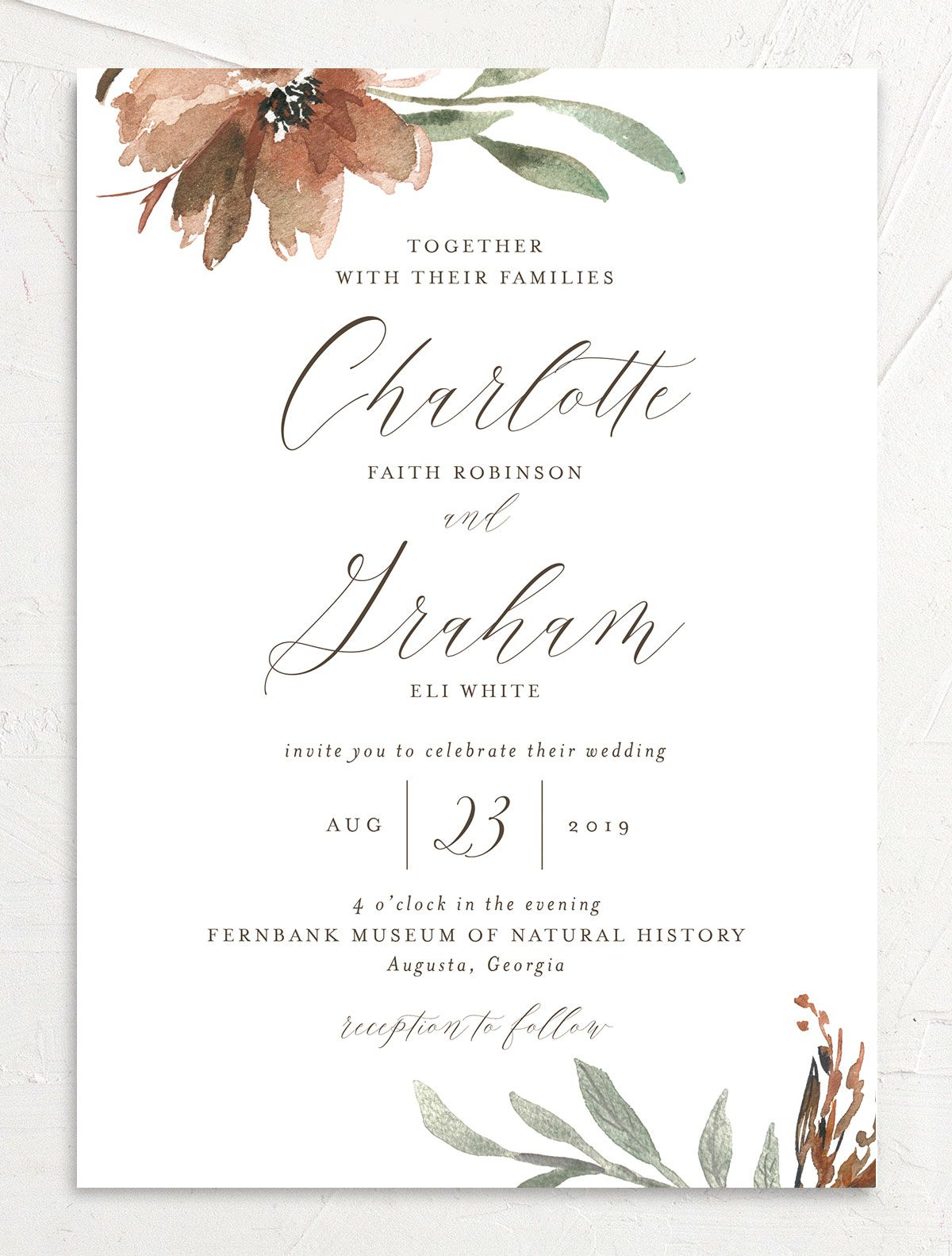 muted floral wedding invitations in copper