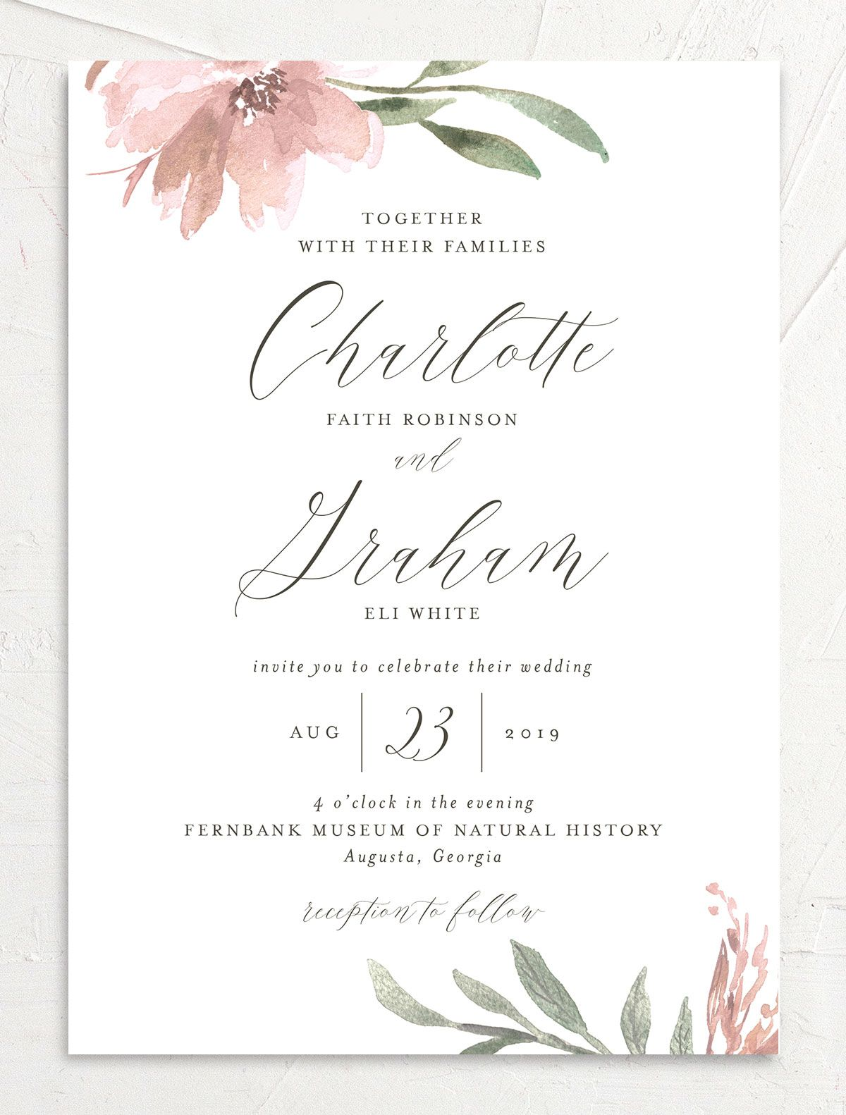 muted floral wedding invitations in blush pink