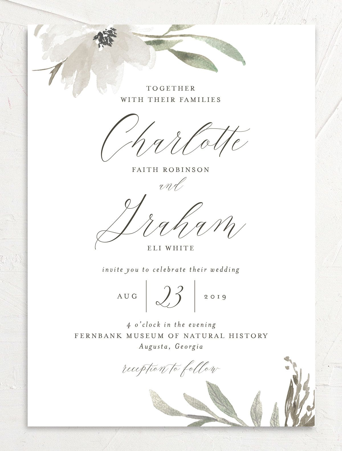 muted floral wedding invitations in white