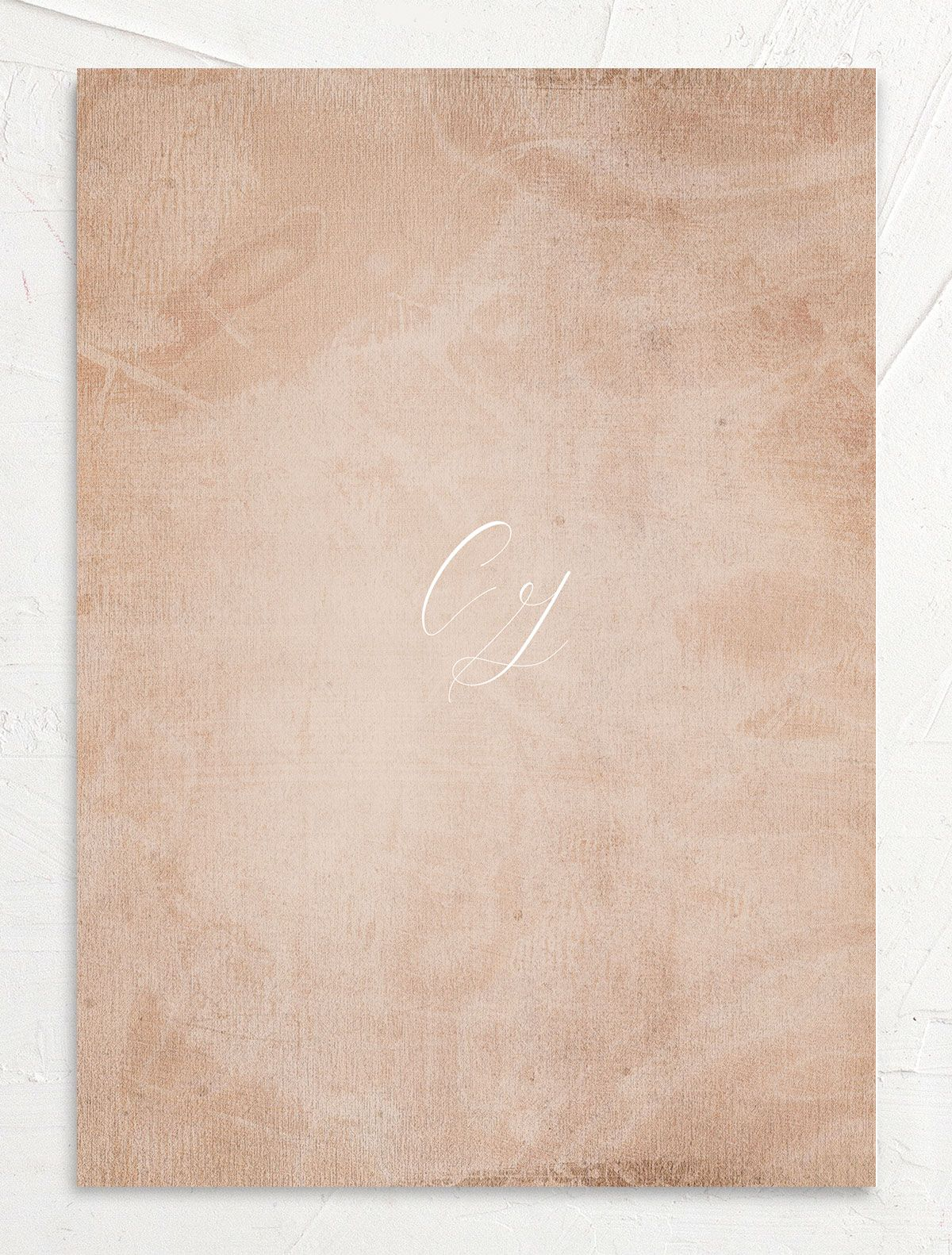 muted floral wedding invites in copper back