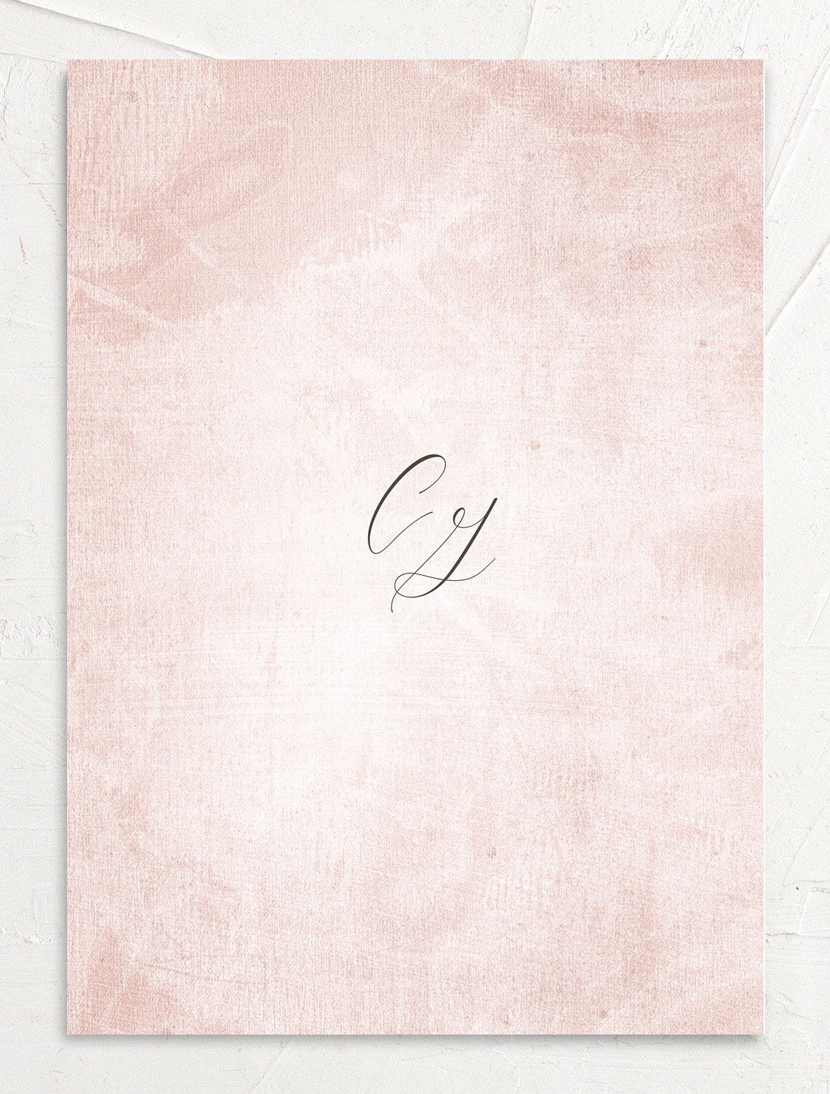 muted floral wedding invites in blush pink back
