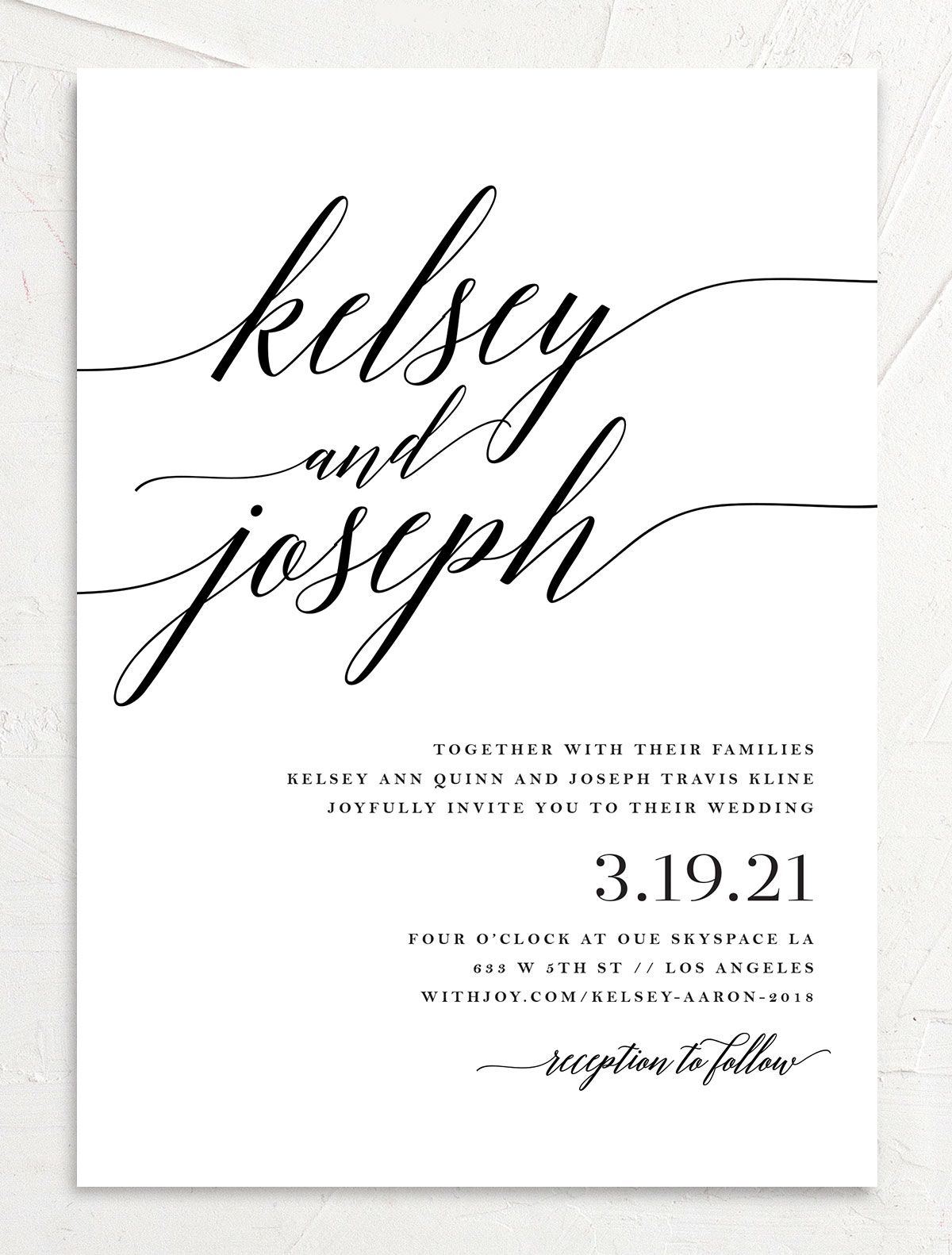 Painted Minimal wedding invite front