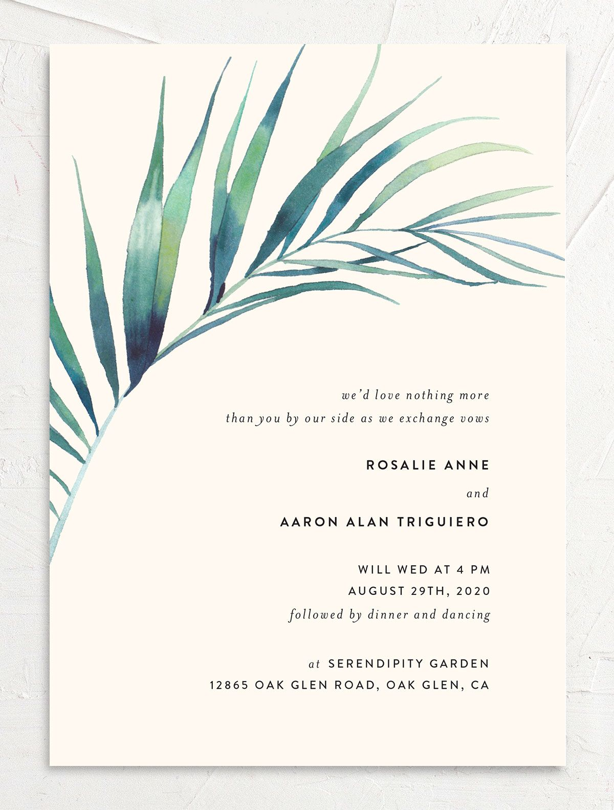 Palm and Protea Wedding Invitations front