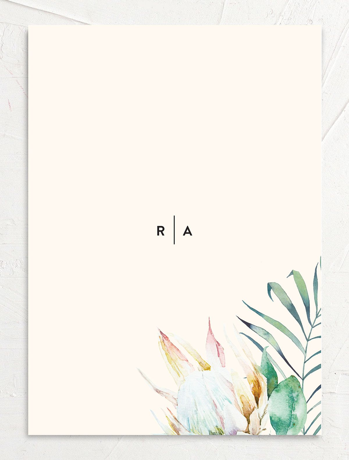 Palm and Protea Wedding Invitations back