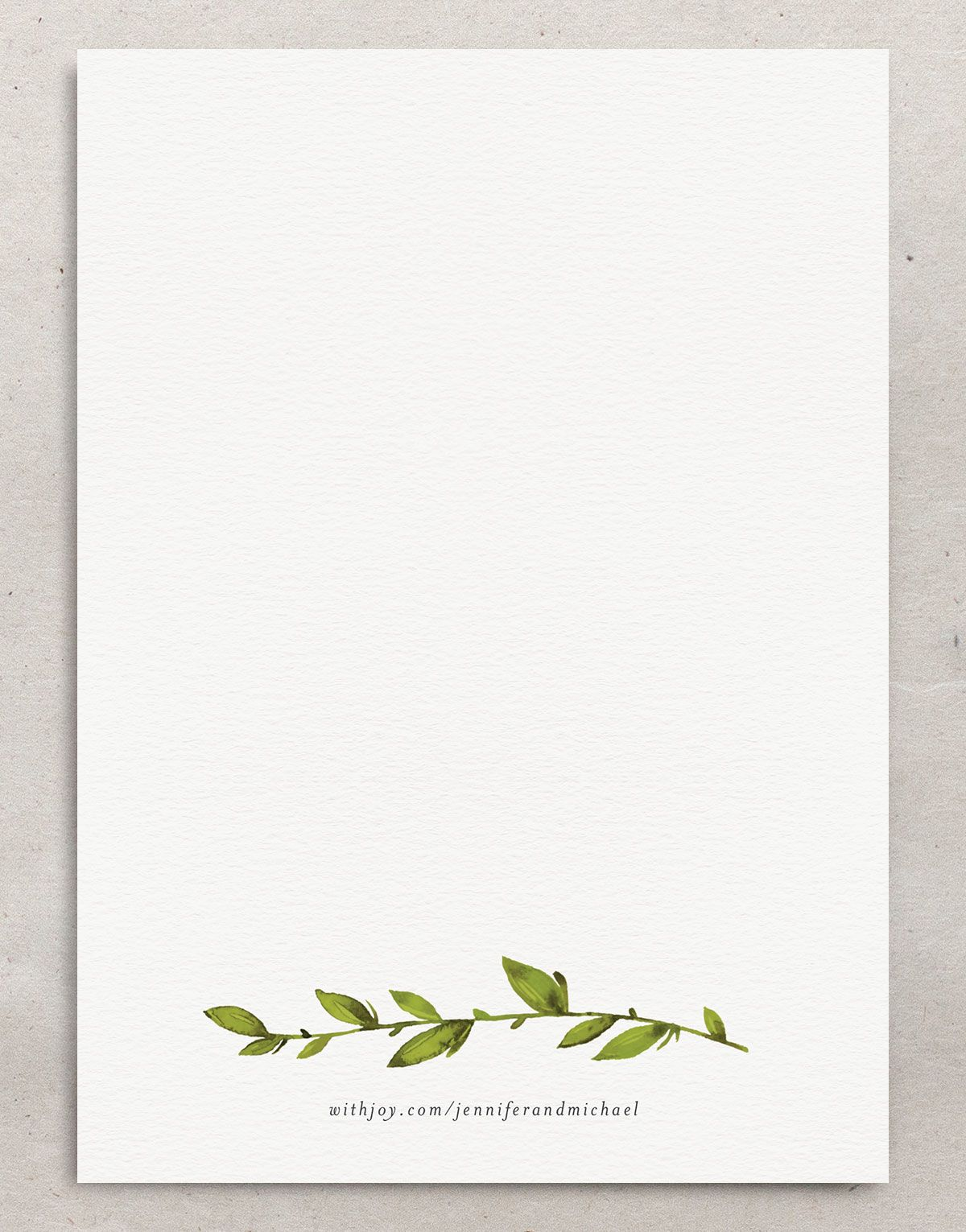 Watercolor Greenery Wedding Invitations backer