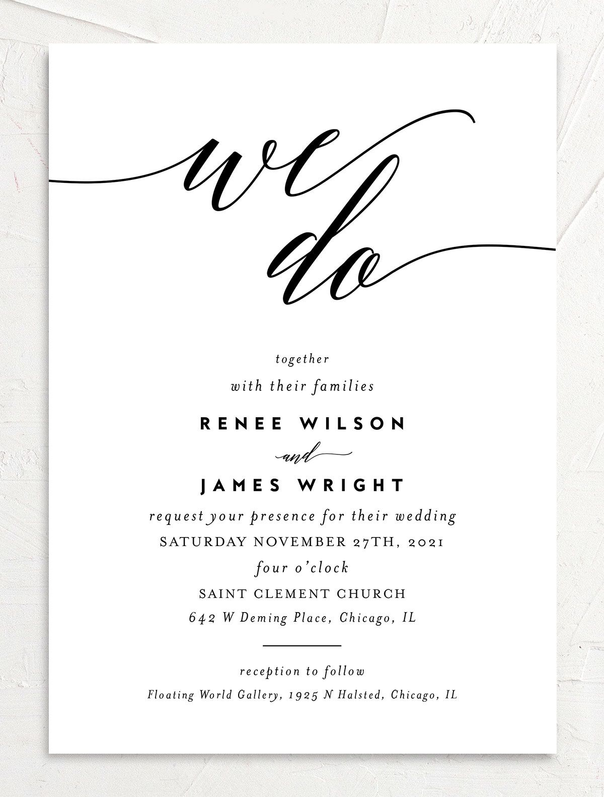 We Do Wedding Invites in black