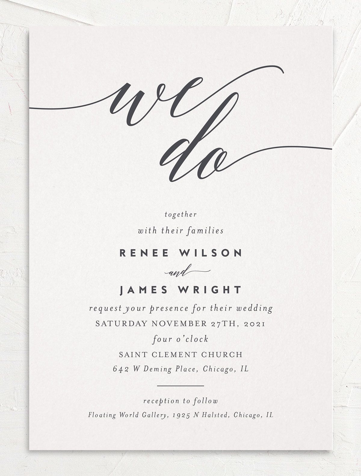 We Do Wedding Invites in grey