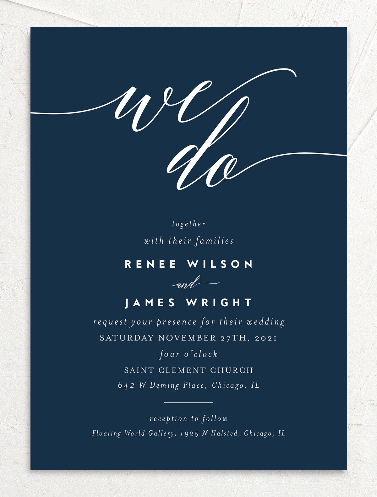 We Do Wedding Invites in navy