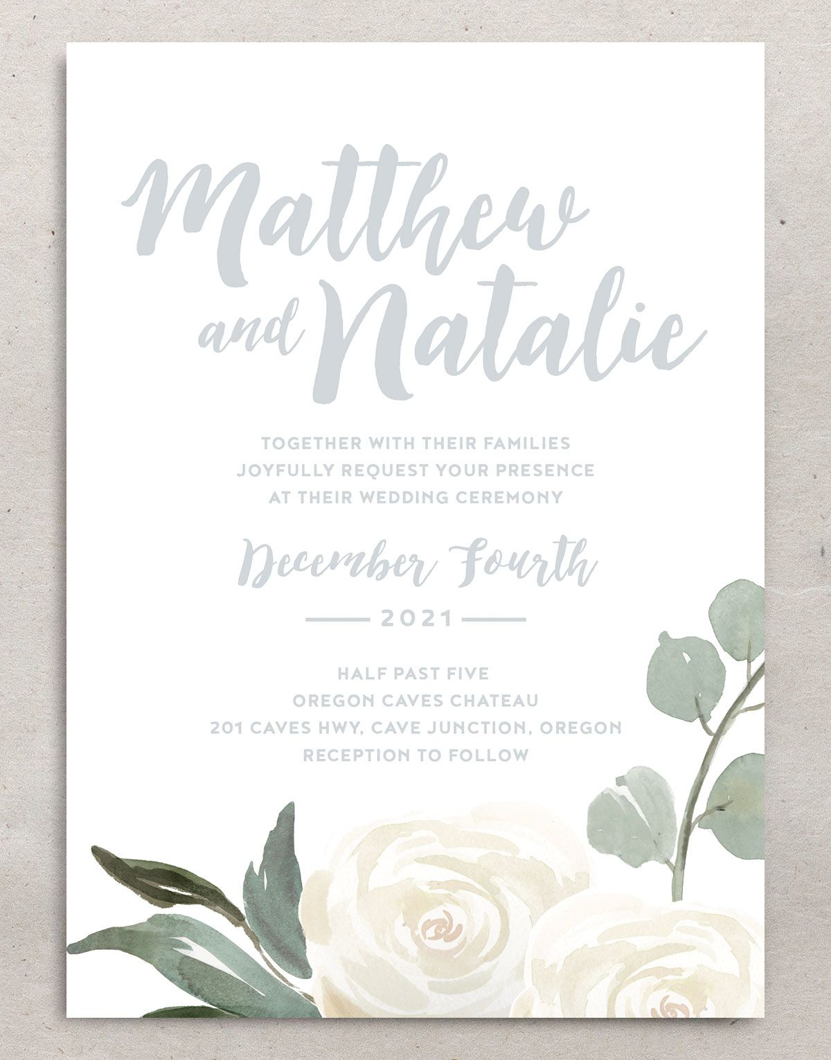 Wintry Floral Wedding Invites closeup front
