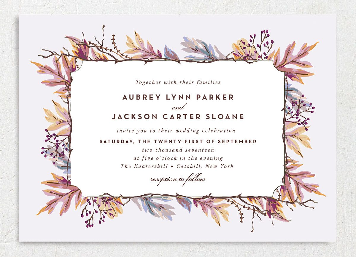 Autumn Leaves wedding invitation front