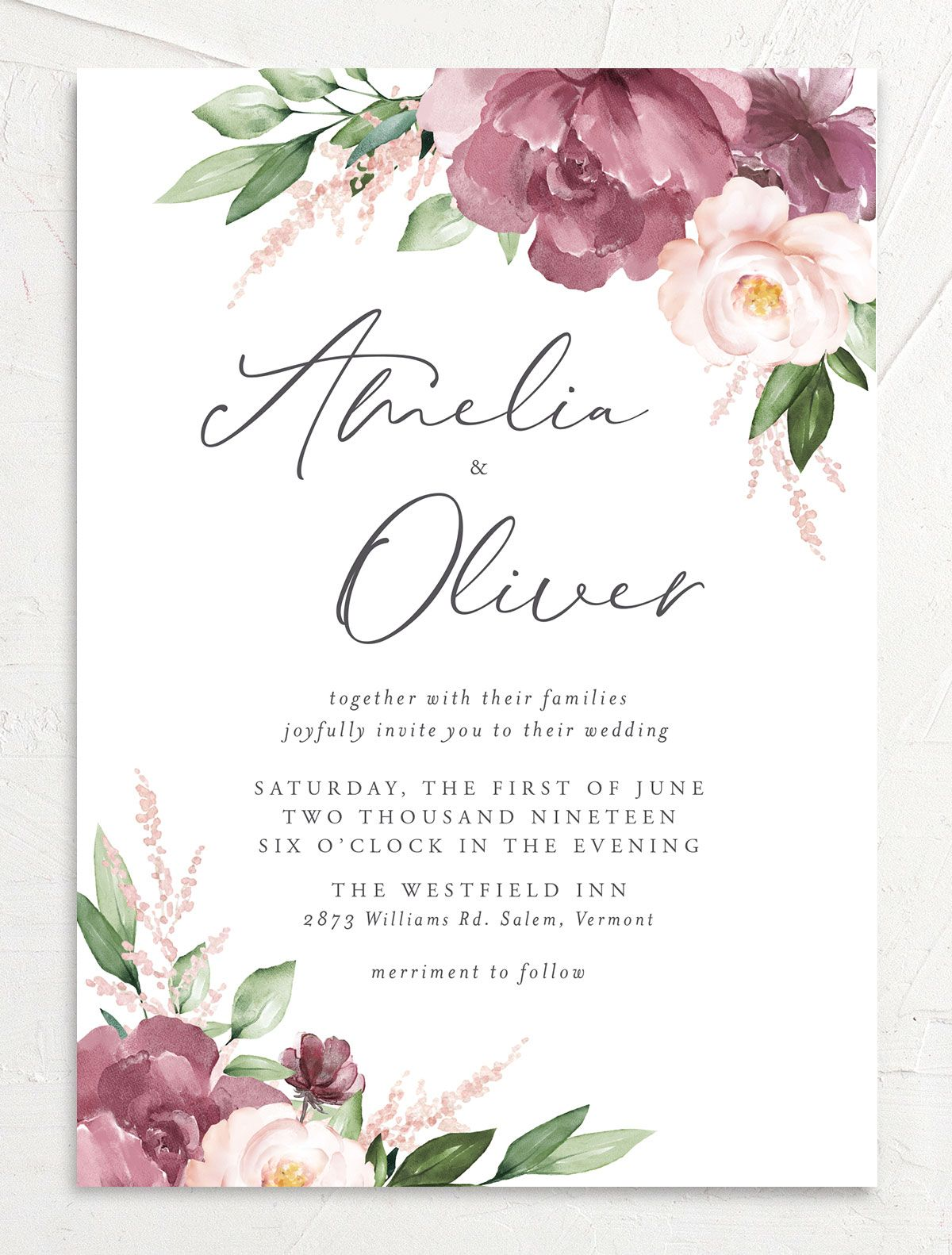 Purple Beloved Floral Wedding Invitation