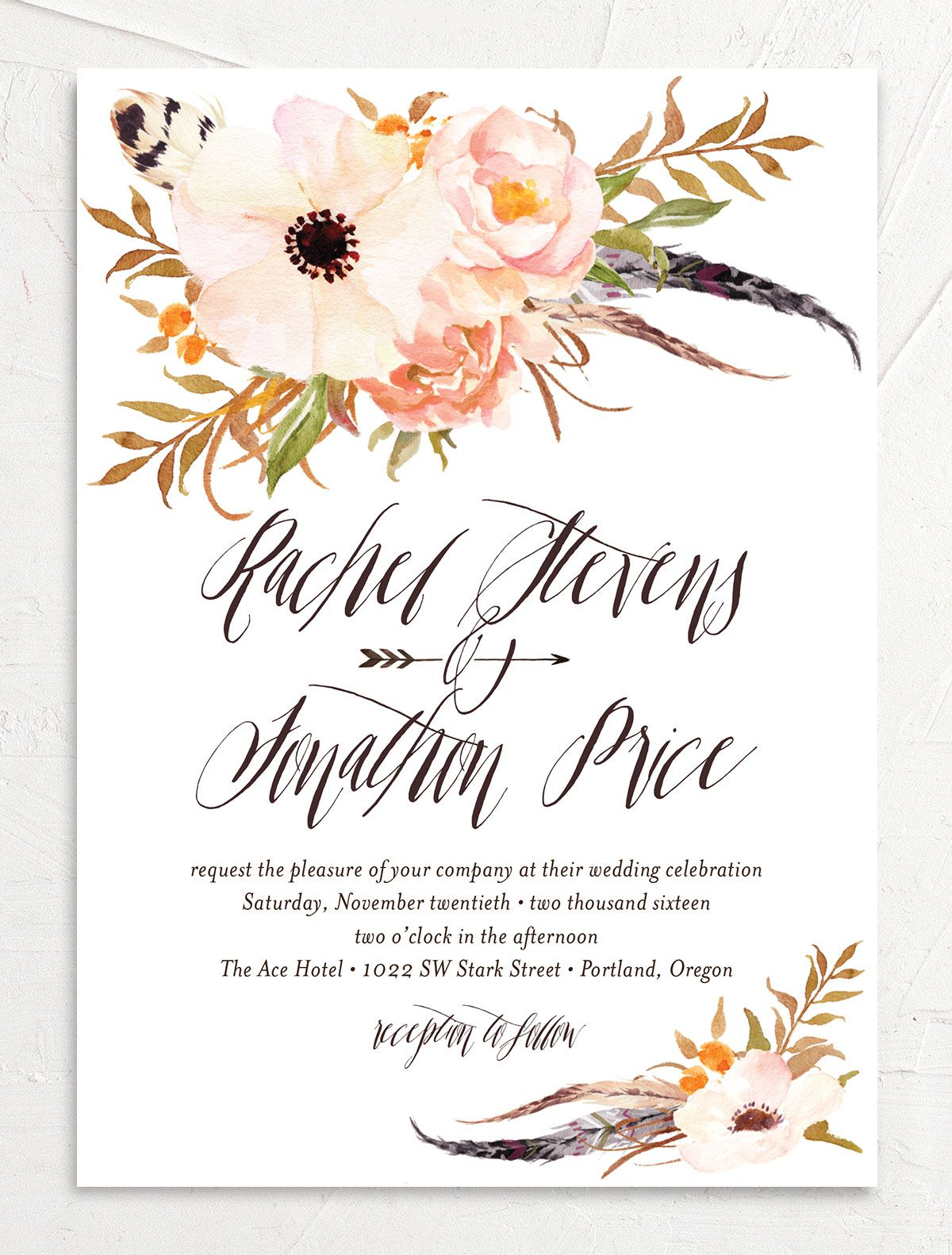 bohemian floral wedding invitations in peach