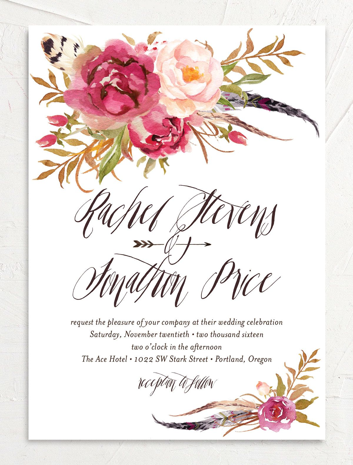 bohemian floral wedding invitations in pink