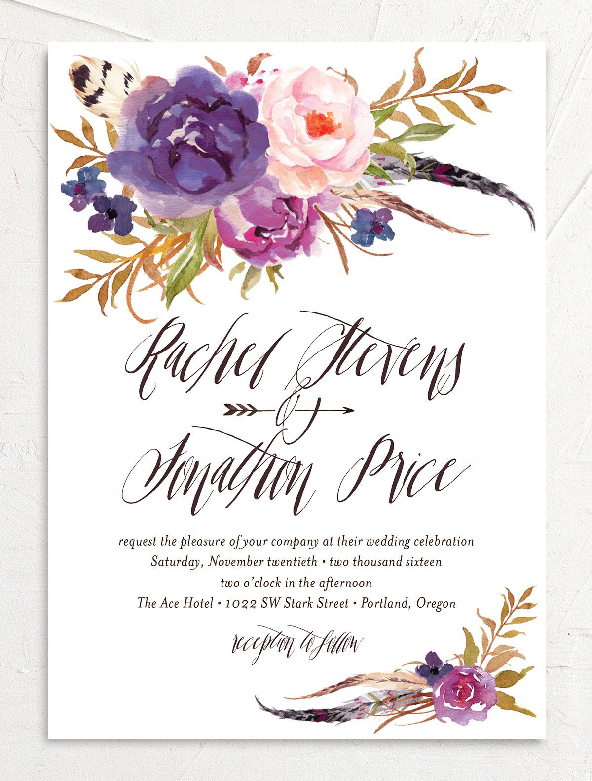 bohemian floral wedding invitations in purple