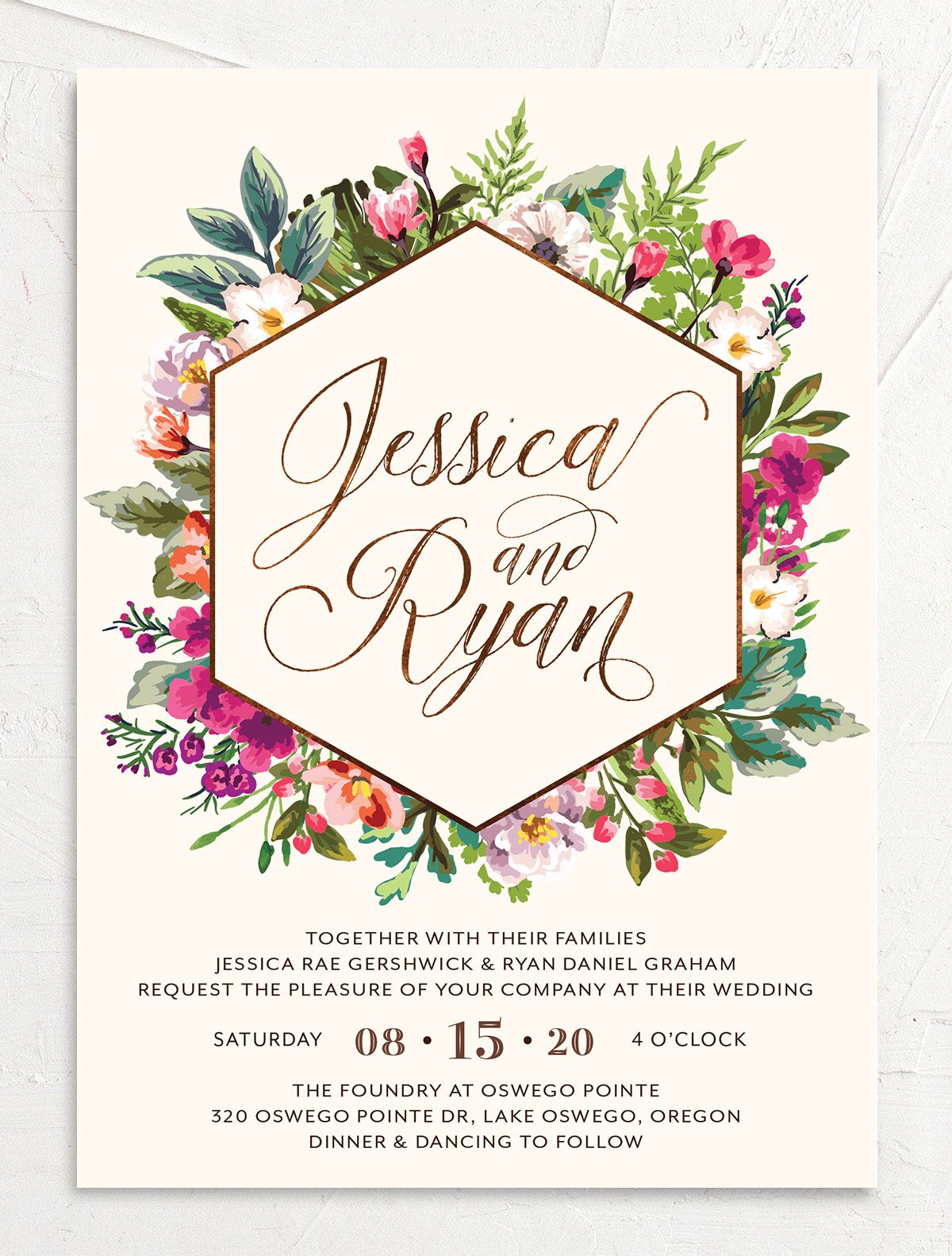 Bronze Floral Frame Wedding Invitations front closeup