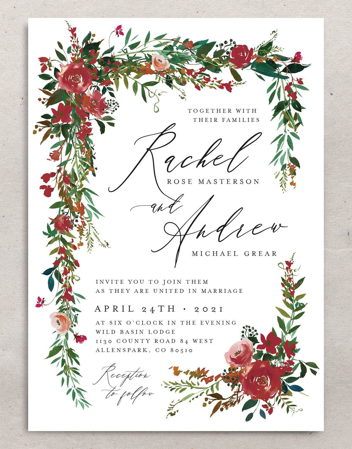 Cascading Altar wedding invites in burgundy