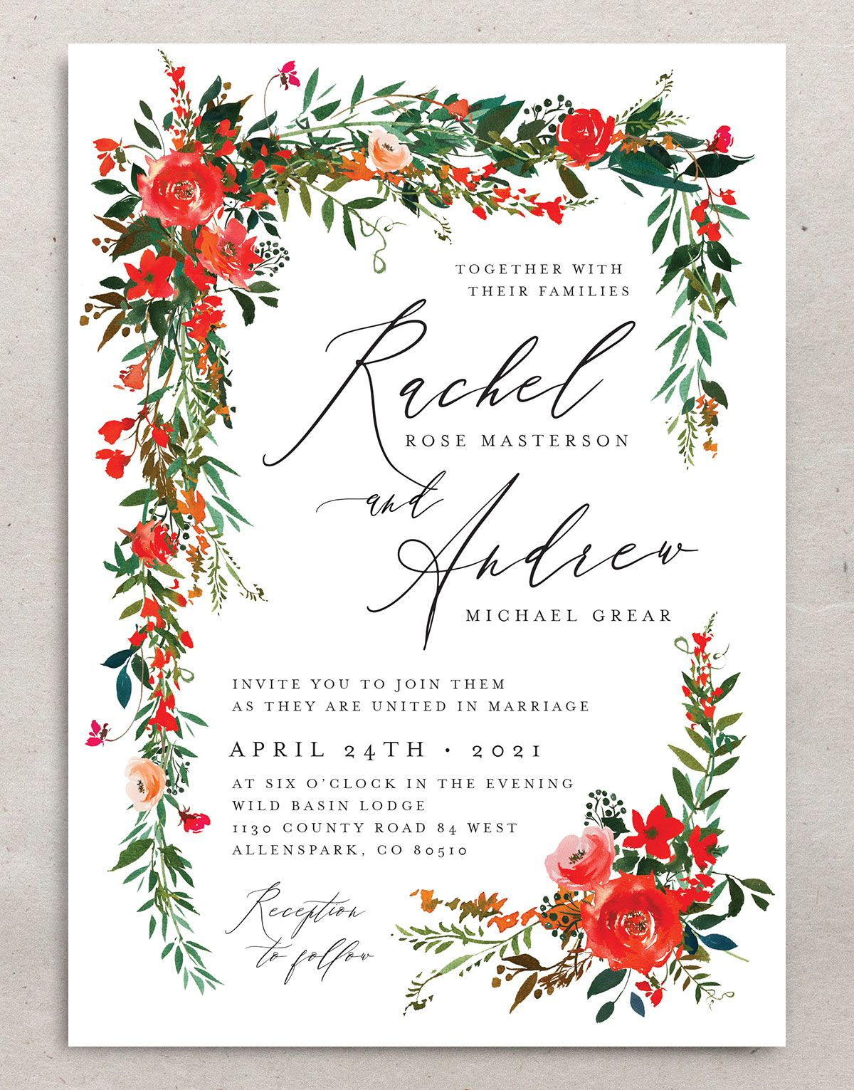 Cascading Altar wedding invites in bright red