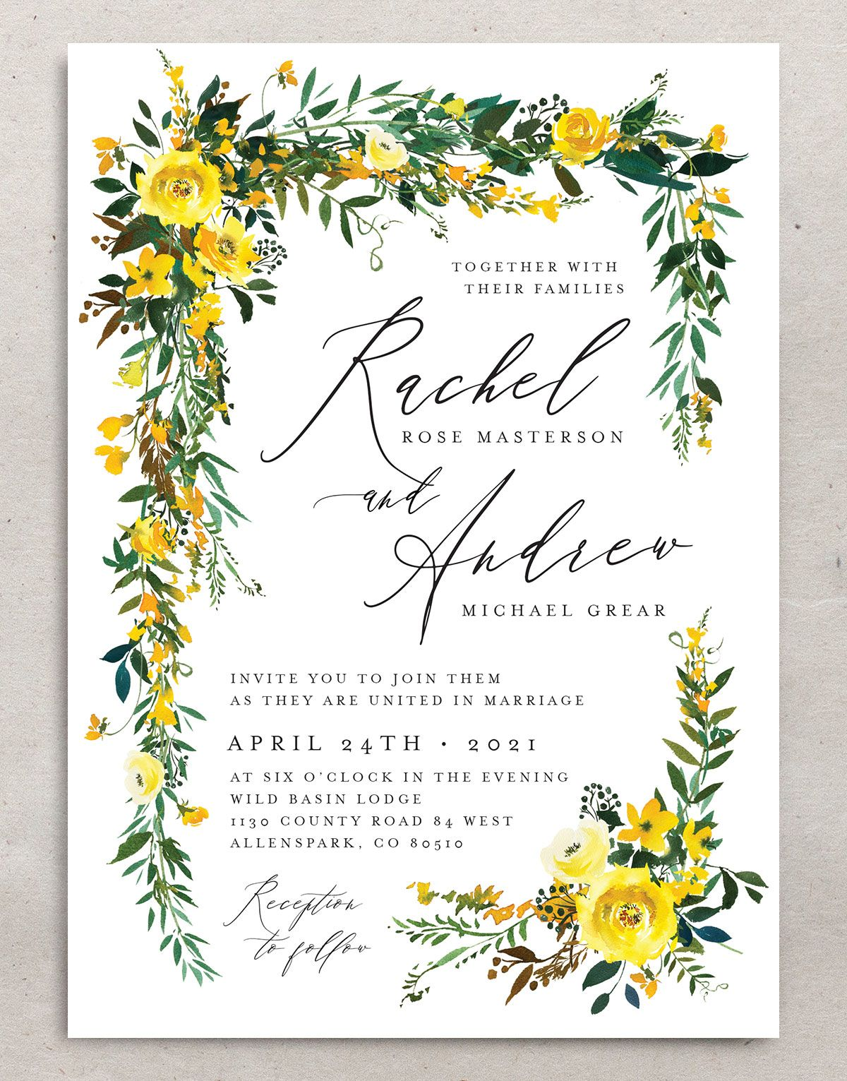 Cascading Altar wedding invites in yellow