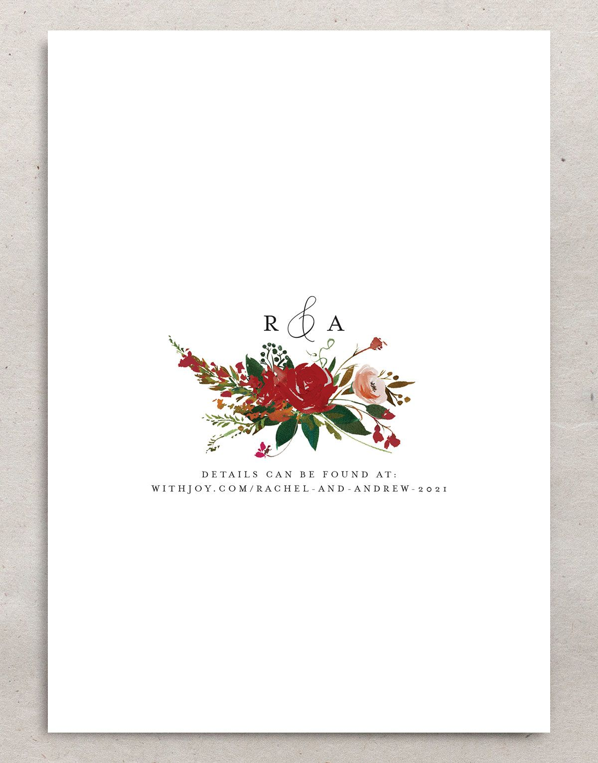 Cascading Altar wedding invites in burgundy backer