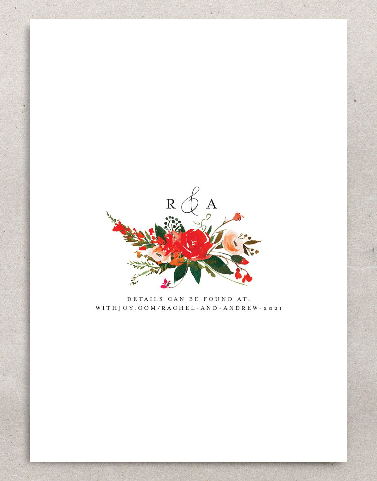Cascading Altar wedding invites in bright red backer