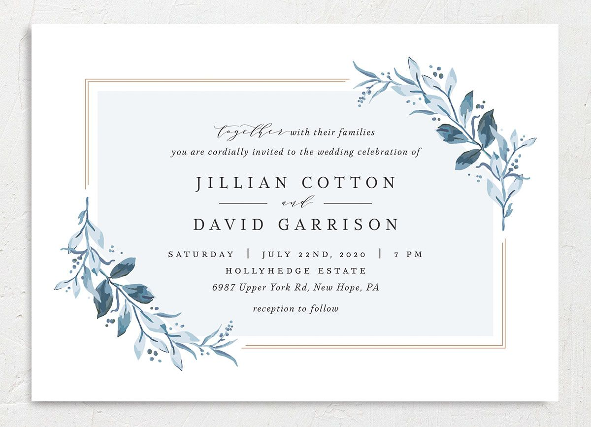 classic greenery wedding invites in blue