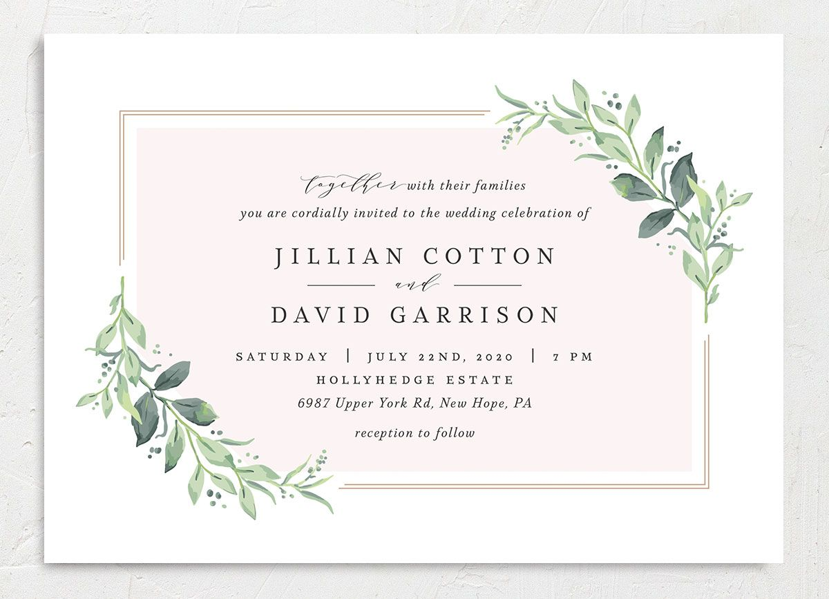 classic greenery wedding invites in pink
