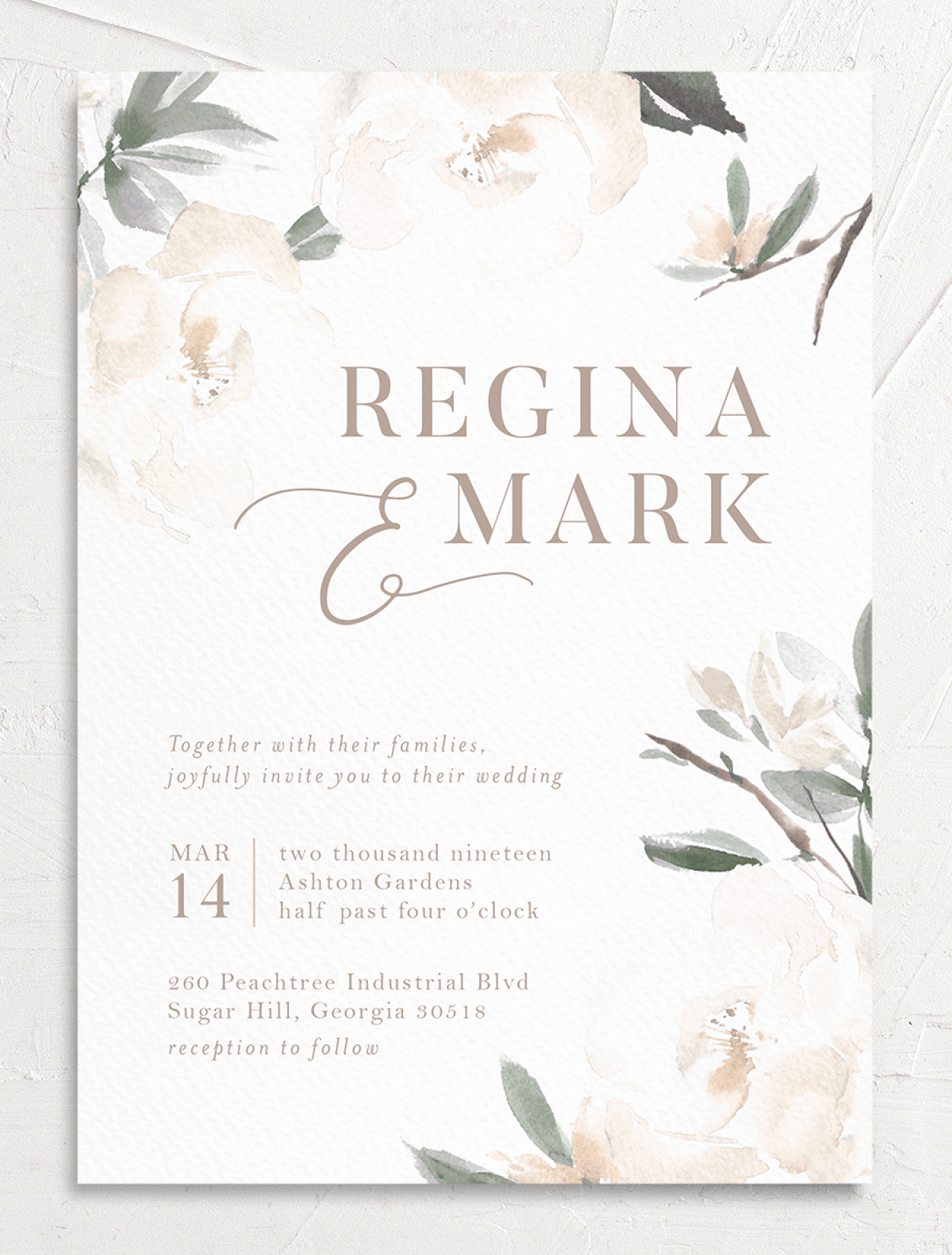 Elegant Garden wedding invite closeup in green