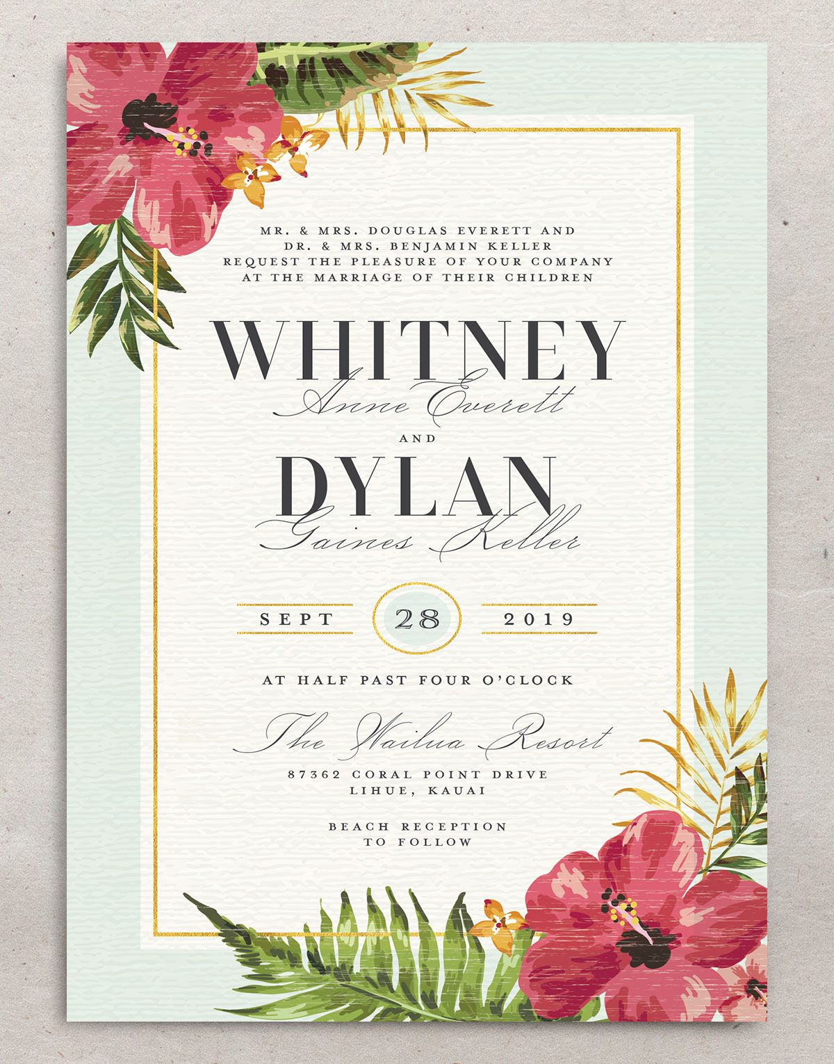 elegant paradise beach wedding invite in teal