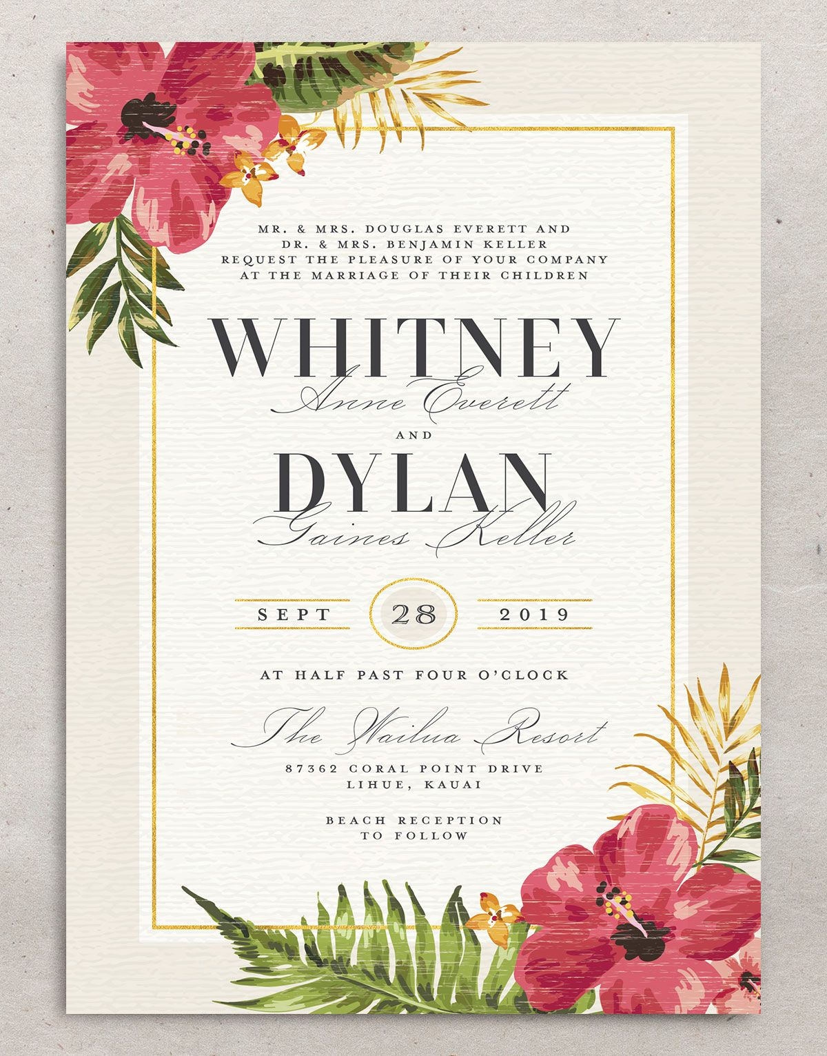 elegant paradise destination wedding invitation in cream