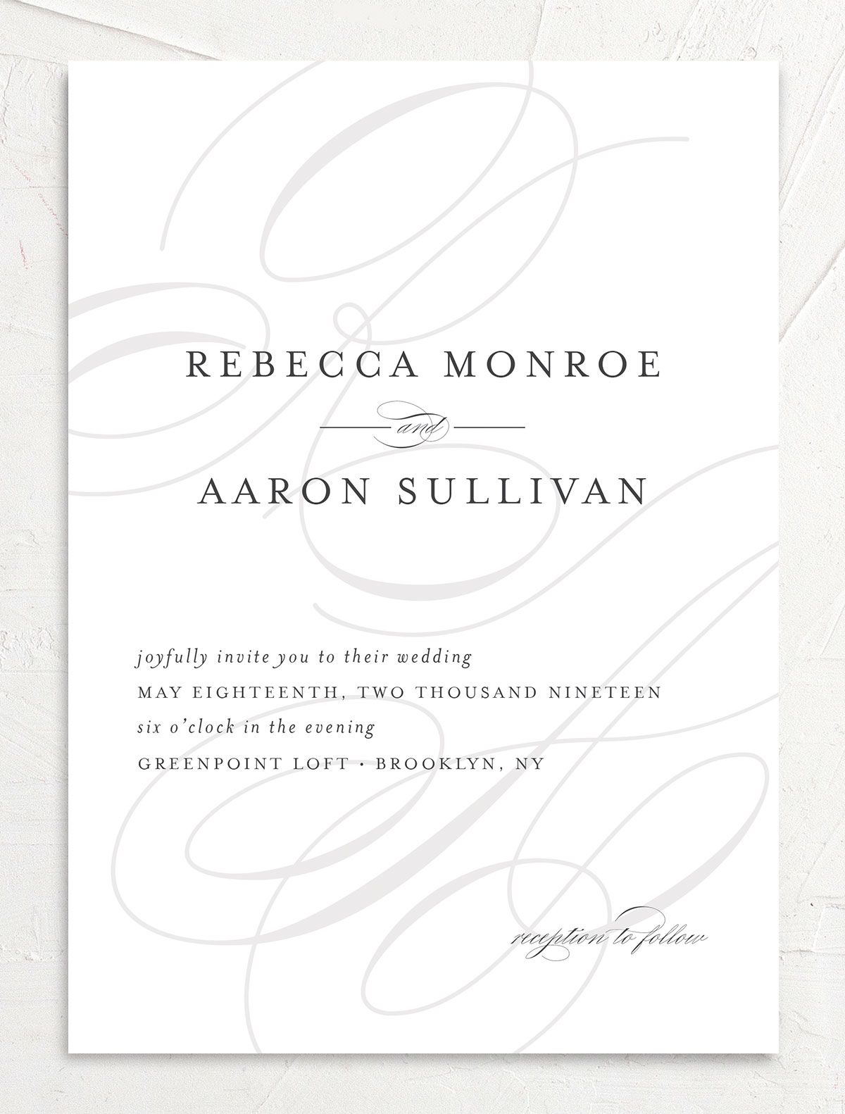 elegantly initialed wedding invitations